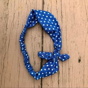 Bow Tie Blue Stars Patriotic Headband